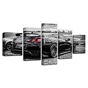 BESTYAN Leinwand Wand Kunst 5 Panel Nissan Skyline GTR R35 Schwarz Drift Auto Wand Poster für Wohnzimmer Hauptdekoration…