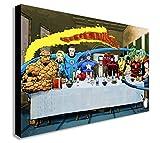 FABCANVAS Toile imprimée sur Toile Marvel Comics Stan Lee Super Hero Cène - Toile encadrée - Différentes Tailles, A1 32x24 inches