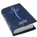 Gotteslob Gotteslobhülle Kreuz blau hellblau Filz mit Namen bestickt hellgrau weiß dunkelgrau blaugrau dunkelblau türkis maigrün flieder, Farbe:dunkelblau meliert