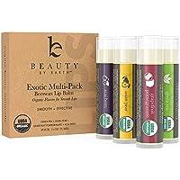 Beauty By Earth La cera de abeja 100% Natural Crema de cacao en sabores exóticos (té verde, la granada, acai y pera asiática)