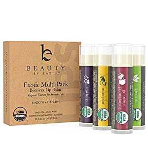 100% Natural Beeswax Lip Balm 4 Pack In Exotic Flavours (Green Tea, Pomegranate, Acai & Asian Pear)