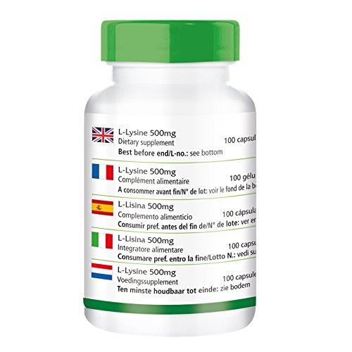 L-Lysin 500mg – GROSSPACKUNG für 3 Monate – HOCHDOSIERT – VEGAN – 100 Kapseln – L-Lysin-Hydrochlorid