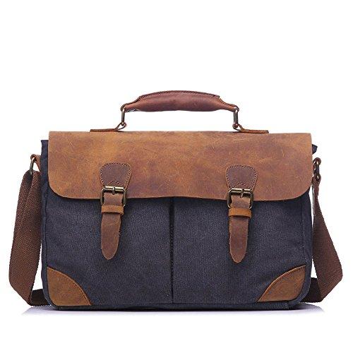 Zhongsufei Messenger Aktentasche Taschen Einfache Retro Aktentasche mit Reißverschluss Canvas Umhängetasche Umhängetasche Farbe: Grau Laptop-Tasche für Geschäftszwecke