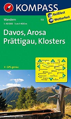 Preisvergleich Produktbild Davos - Arosa - Prättigau - Klosters: Wanderkarte. GPS-genau. 1:40000 (KOMPASS-Wanderkarten, Band 113)