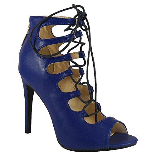 Loudlook Nuove Donne Signore Caviglia Peep Toe Lace Up Alta Stiletto Partito Tacco Scarpe Stivali Tacco Dimensione 3-8 Blue