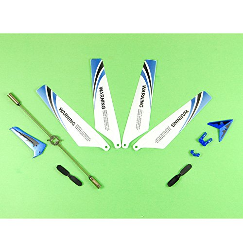 elegantstunning Full of 4 Spare Parts for Syma S107 RC Helicopter Main Sheets, Tail Decorations, Tail Supports, Blue Balance Bar Set
