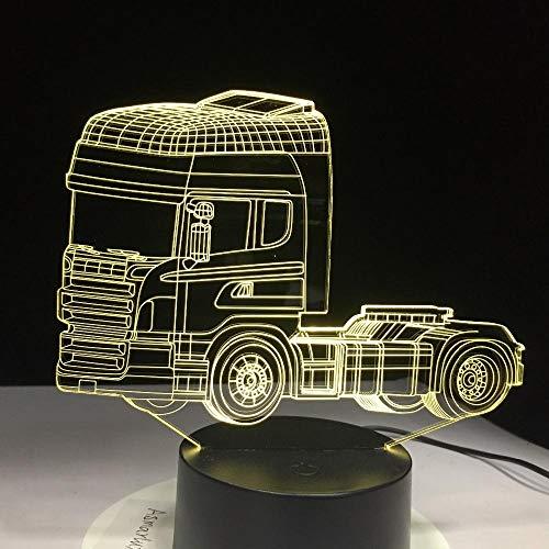 Dwqerwre 3D Nachtlichtsuperschwerer Container-Lkw7 Farbwechsel Illusion Night Lamp Touchswitch Usb-Kabel De Li Container