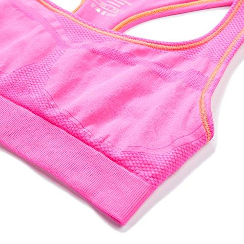 Soutien-gorge/Brassière Sport Femme Lapasa Sans Couture Sans Armature Dos Nageur Cool-tech - Yoga Fitness Jogging Gym Rose