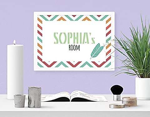 Personalised Bohemian Striped Feather Girls Room A4 Digital Art Print Wall Decor Poster