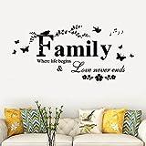 Rokoy Adesivi Murali Famiglia/Frasi Inglesi/semplicità Creativa/Parete Artistica Rimovibile/Decorazione Murale Soggiorno in Vinile Murale Decorazione della Stanza di Casa