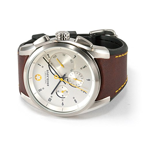 Daye / Turner Men's Watch Star Enceladus XL Chronograph, Stainless Stainless Casing, Leather Strap, light brown, white clock face, Seiko Quartz Movement, high-quality Mineral Glass