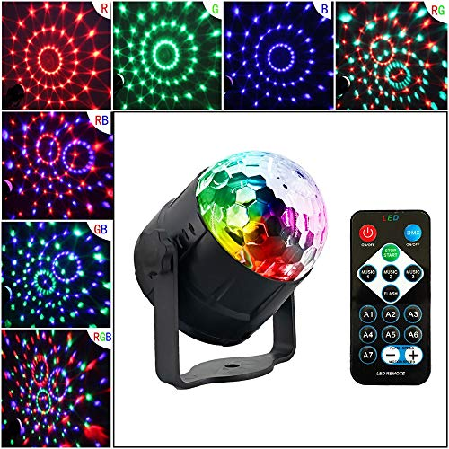 LED Crystal Magic Ball Light 7 Colors Stage Light Rotating Strobe Light Audio aktiviert DJ Light with Remote Control Party Stage Effect Light ()