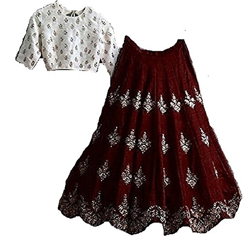 Riyan Enterprise Maroon Color Latest Designer Party Wear, Traditional Lehenga Choli (Semi-Stitched_Free...