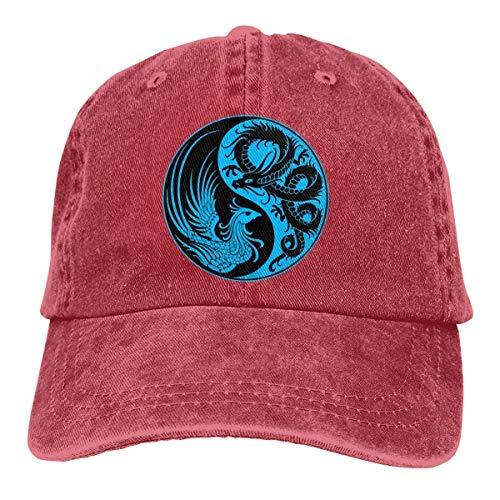 Preisvergleich Produktbild Sdltkhy Blue and Black Dragon Phoenix Yin Yang Unisex Adjustable Denim Baseball Caps Multicolor87