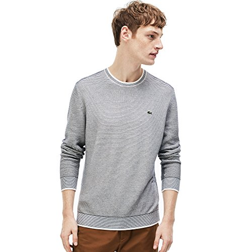 Lacoste Pull homme - AH3986 Blanc (FARINE/MARINE SOMBRE) XXX-Large (8)