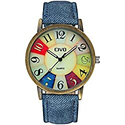 CIVO Men's Women's Denim Leather Watch Band Wrist Watch Business Casual Classic Retro Style Analogue Quartz Watches Fashion Dress Wristwatch Vintage Colorful Face Bronze Case
