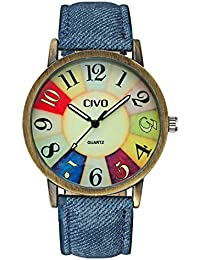 CIVO Men's Women's Denim Leather Watch Band Wrist Watch Business Casual Classic Retro Style Analogue Quartz Watches Fashion Dress Wristwatch Vintage Colorful Face Bronze Case