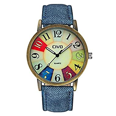 CIVO Men's Women's Denim Leather Watch Band Wrist Watch Business Casual Classic Retro Style Analogue Quartz Watches…