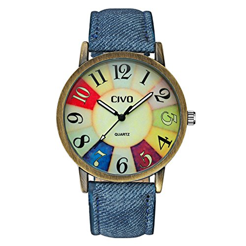 - 511OgE3qUgL - CIVO Men's Women's Denim Leather Watch Band Wrist Watch Business Casual Classic Retro Style Analogue Quartz Watches Fashion Dress Wristwatch Vintage Colorful Face Bronze Case