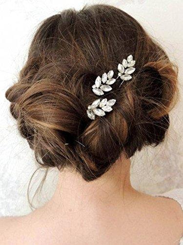 Handcess forcine per capelli da sposa argento foglia strass forcine per sposa damigella