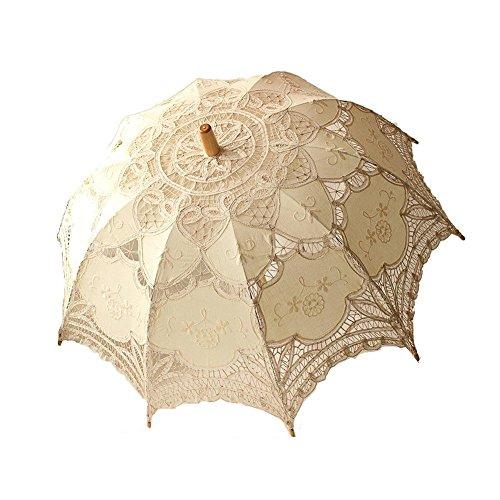 Spitzenschirm Damen Rüschenschirm Schirm mit Spitze Sonnenschirm Rüschen Sonnenschirm Kostüm Zubehör Damenschirm Viktorianischer Stil Brautschirm(Rosa Weiß schwarz rot) ()