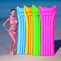 Inflatable Matt Lilo Lounger Swimming Pool Air Mat Pink Yellow Green or Blue
