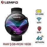 samLIKE ? LEMFO LEM7 Smartwatch ? 4G SIM-Kartensteckplatz ? GPS-Navigation ? Herzfrequenzsensor ? Anrufer erinnern ? Schrittzähler ? 2MP Kamera ? für Android 4.4 ? IOS 9.0 und höher (?? Schwarz)