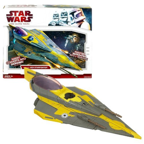 Hasbro Year 2009 Star Wars Animated Series The Clone Wars Action Figure Vehicle Set - ANAKIN's JEDI STARFIGHTER with 2-in-1 Vehicles (Starfighter Separates Into 2 Vehicle), Missile Launcher, Droid Socket and Insert That Convert into Diorama Background (Action Figure is Not Included) by Star Wars -