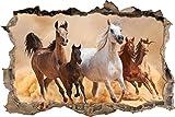 Pixxprint 3D_WD_S2207_92x62 Herde von Pferden in der Wüste mit Fohlen Wanddurchbruch 3D Wandtattoo, Vinyl, Bunt, 92 x 62 x 0,02 cm