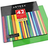 Hojas de vinilo autoadhesivo Arteza - 42 láminas de colores surtidos (30,5 x 30,5cm)