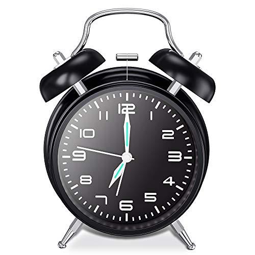 Chaobai Doble Campanas Reloj Despertador con Luz NocturnaVintage Reloj Despertador analógico Silencioso...