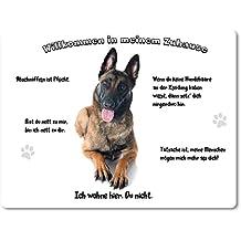 Merchandise for Fans 'Targa in metallo/Segnale di pericolo/Targa per porta–Alluminio–Benvenuti nella mia casa–Motivo: cane da pastore belga Malinois–-07, Alluminio, 20 x 30 cm