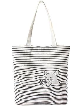 Damen Canvas Katze Shopper Tasche Streifen Leinwand Handtasche Mädchen Umhängetasche Schultertasche Beuteltasche...