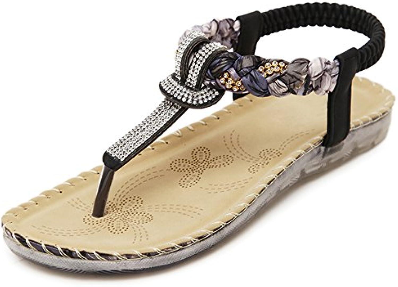 XIAOLIN Estilo étnico Rhinestone Sandalias de fondo plano Femenino Vacaciones de Verano Zapatos de Playa Roma...