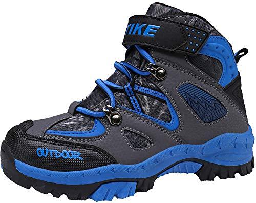 Stivali da Arrampicata per Bambini Scarpe da Trekking Scarpe Antisdrucciolevoli in Inverno Stivali da Neve Scarpe da Cotone Piattaforma Impermeabile per Ragazze Ragazzi(Blu EU36)