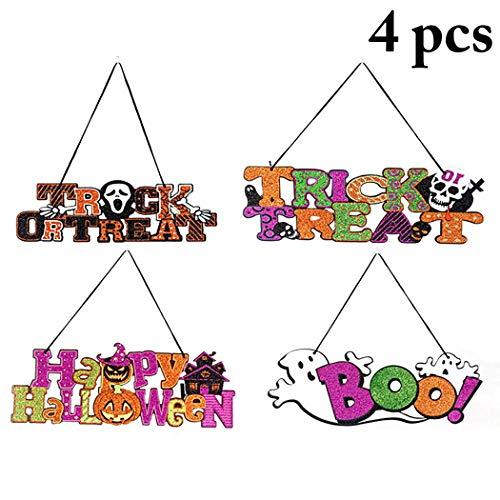 JUSTDOLIFE 4 Stück Halloween Zeichen Glitter Türschild Party Dekoration Ornamente Hängen
