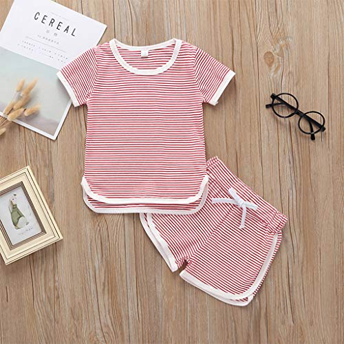 zahuihuiM  Kleinkind Kinder Baby Mädchen Jungen Sommer Beiläufige Gestreifte Kurzarm Tops + Shorts Weicher Baumwolle Pyjama Outfit Set
