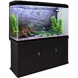 MonsterShop - Acuario 300 Litros con Mueble Negro y Kit con Plantas y Grava Natural 143cm x 120cm x 39cm