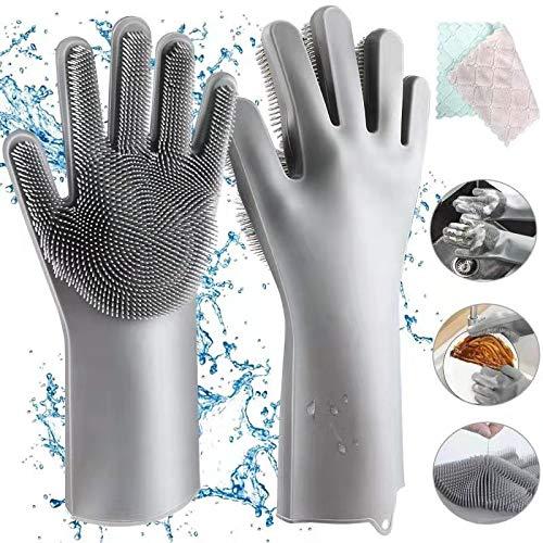 Gants en Silicone, Homga Magic Gloves Gants de Rinçage en Silicone Propres Réutilisables Gants pour Lave-vaisselle, Gant en Caoutchouc pour la Maison, Lave-auto, Résistant à la Chaleu