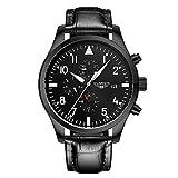 guanqin Herren Analog Armbanduhr Display Sport beliebten Marke Automatische Mechanische Automatik Edelstahl und Leder Business Armbanduhr Datum Luminous Wasserdicht Schwarz