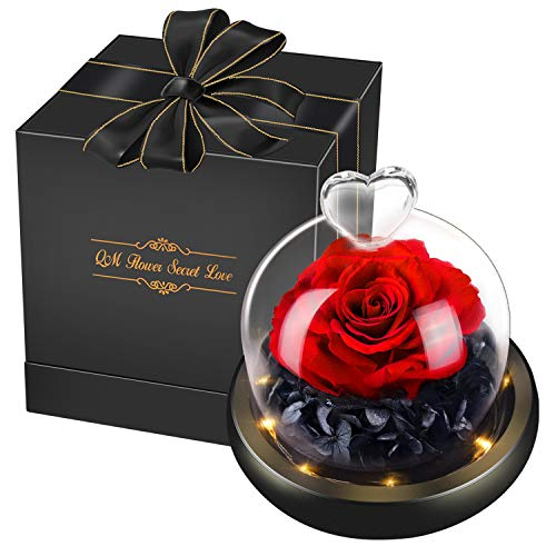 Swonuk Konservierte Rose mit Geschenkbox, Ewige Rose LED Lichterkette Hochzeit, Geburtstag, Valentinstag, Muttertag, Jubiläum(Echte Rosen)