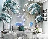 LoaiZh Moderner Hd-Hellblauer Ginkgo-Baum-Elch 3D Tapete Wandbild Wandaufkleber Wallpaper 400cmX300cm
