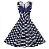 erdbeerloft - Damen Mädchen Mini Kleid Swing 60er Rockabilly- Style mit Punkten, 40, Blau
