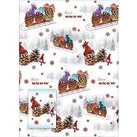 Papier cadeau de pin de Noël cône bonshommes de neige
