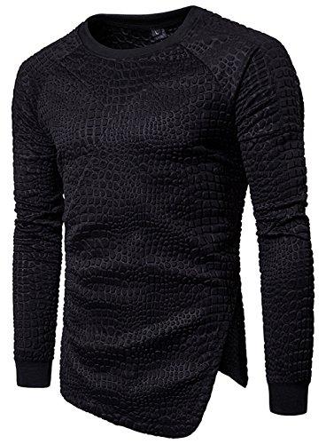 Whatlees Unisex langärmliges T-shirt mit 3D paisley bandana muster Reisverschluss Design Krokodilleder muster Reisverschluss Design floral pflanz Reisverschluss Design B894-02-XL