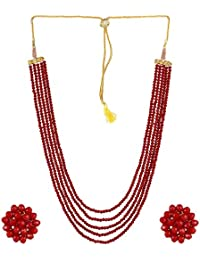 DS Opaque Beads Five Layer Party Wear Necklace With Earrings For Women Girls(DS114)