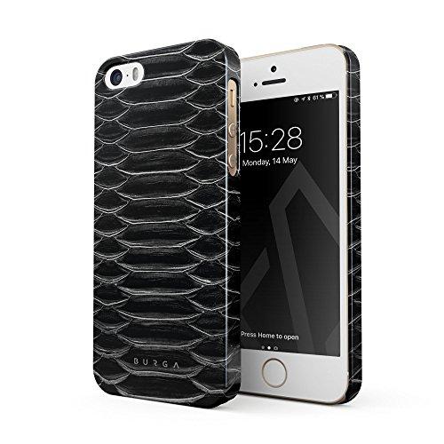 BURGA Hülle Kompatibel mit iPhone 5 / 5s / SE Handy Huelle Darkest Path Savage Wild Black Snake Skin Dünn, Robuste Rückschale aus Kunststoff Handyhülle Schutz Case Cover (Leopard Handy Cover Für Iphone 5)