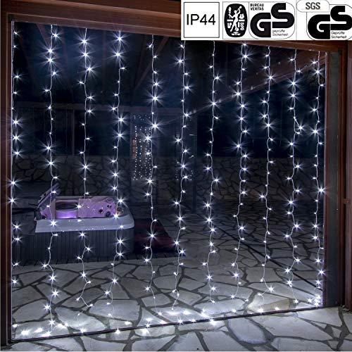 VOLTRONIC LED Lichtervorhang Lichterkette für innen und außen, erhältlich in: 3x3m (300LED) / 3x6m (600LED), warmweiß/kaltweiß/bunt, GS geprüft, IP44, 8 Leuchtmodi, Outdoor