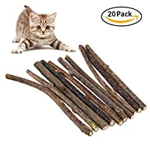 The Fellie Cat Chew Stick, 20 pcs Chew Toys Catnip Toy Cat Dental Chews For Teeth Cleaning (Silvervine)