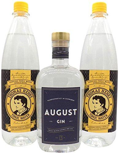August Dry Gin 1x 0,7L (44% Vol.) & 2x Thomas Henry Tonic Water 1,0L PET | Gin & Tonic Set …